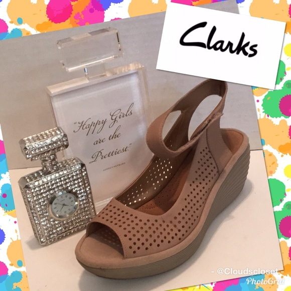 5896908cba Clarks Shoes | Reedly Salene Wedge 7m Ankle Strap Tan | Poshmark